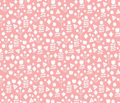 geo florals // ballerina pink floral fabric simple flowers ballerina pink design fabric by andrea_lauren on Spoonflower - custom fabric