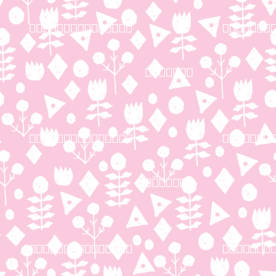 geo floral // bubblegum pink simple floral and white pink and white fabric simple florals