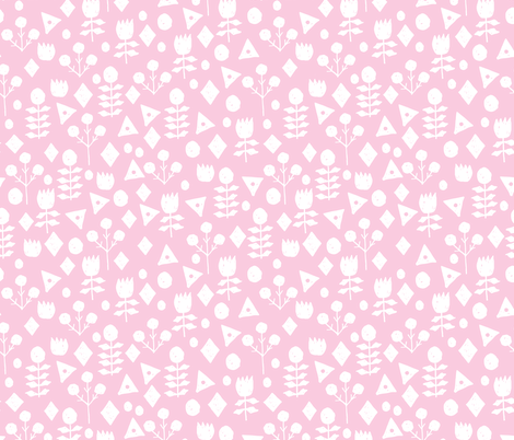 geo floral // bubblegum pink simple floral and white pink and white fabric simple florals  fabric by andrea_lauren on Spoonflower - custom fabric