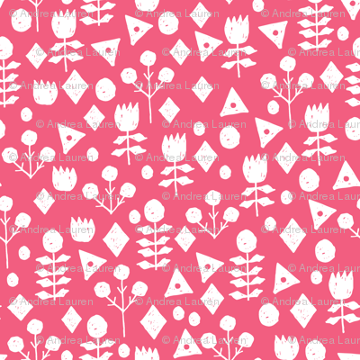 geo floral // french rose medium pink simple flower fabric shabby chic floral