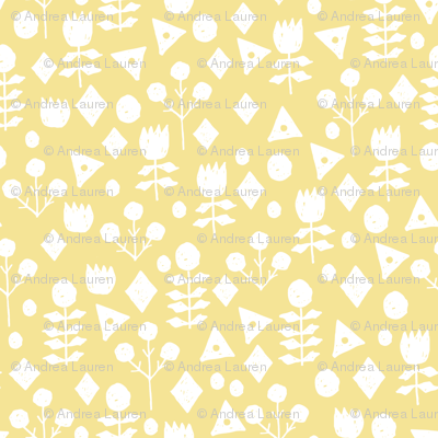 geo floral // lemon yellow pastel yellow spring florals hand-drawn design by andrea lauren