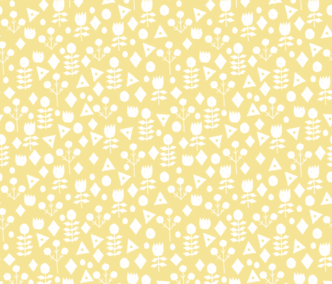 geo floral // lemon yellow pastel yellow spring florals hand-drawn design by andrea lauren fabric by andrea_lauren on Spoonflower - custom fabric