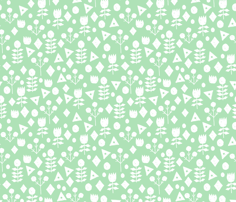 geo floral // mint green flowers hand-drawn floral design by andrea lauren fabric by andrea_lauren on Spoonflower - custom fabric