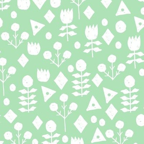 geo floral // mint green flowers hand-drawn floral design by andrea lauren
