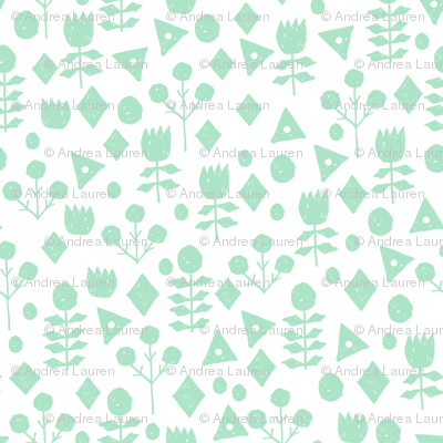 geo floral // mint and white geometric floral fabric hand-drawn by andrea lauren