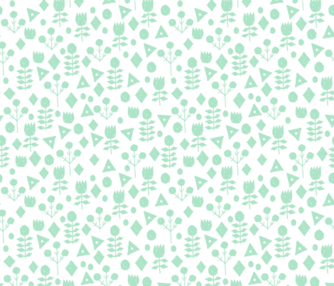 geo floral // mint and white geometric floral fabric hand-drawn by andrea lauren fabric by andrea_lauren on Spoonflower - custom fabric