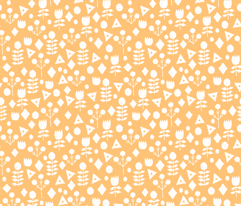 geo floral // papaya orange pastel orange  floral fabric solid orange andrea lauren design fabric by andrea_lauren on Spoonflower - custom fabric
