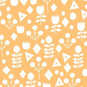 geo floral // papaya orange pastel orange  floral fabric solid orange andrea lauren design