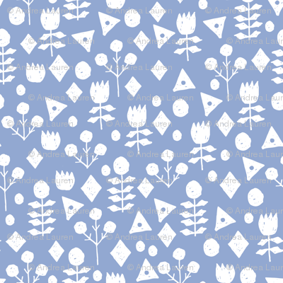 geo floral // periwinkle floral fabric purpley blue fabric