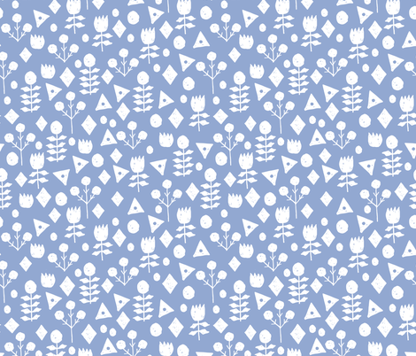geo floral // periwinkle floral fabric purpley blue fabric fabric by andrea_lauren on Spoonflower - custom fabric