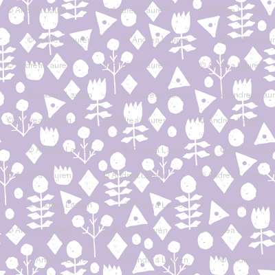 geo floral // petal purple pastel lavender purple geometric flowers fabric hand-drawn simple floral