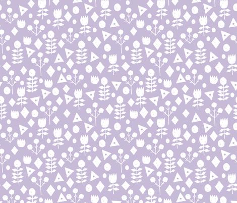 geo floral // petal purple pastel lavender purple geometric flowers fabric hand-drawn simple floral fabric by andrea_lauren on Spoonflower - custom fabric