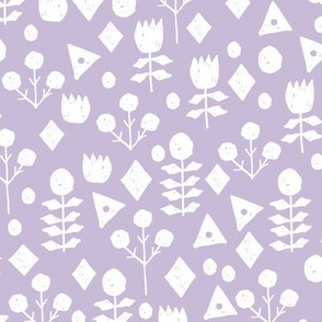 geo floral // petal purple pastel lavender purple geometric flowers fabric hand-drawn simple floral