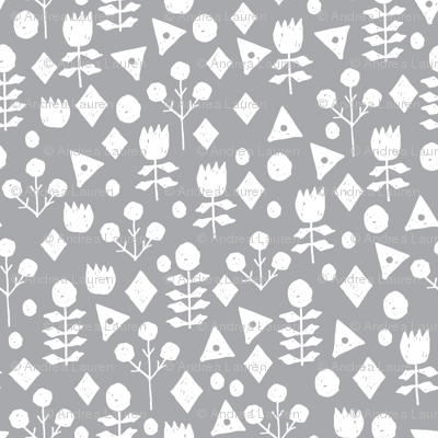 geo floral // pewter grey floral fabric geometric flowers simple grey and white floral fabric by andrea lauren