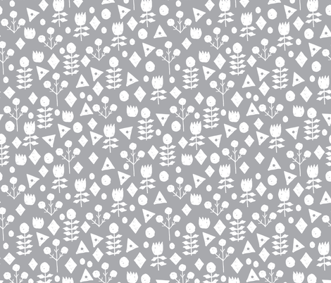 geo floral // pewter grey floral fabric geometric flowers simple grey and white floral fabric by andrea lauren fabric by andrea_lauren on Spoonflower - custom fabric
