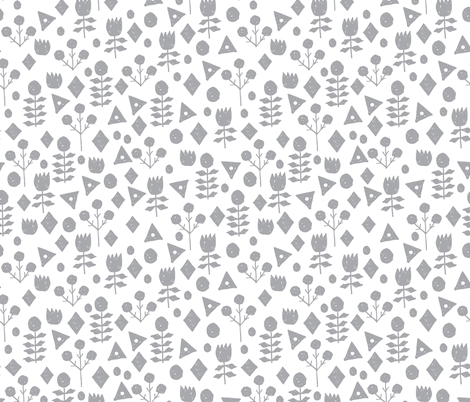 geo floral // grey and white florals simple flower design andrea lauren fabric by andrea_lauren on Spoonflower - custom fabric