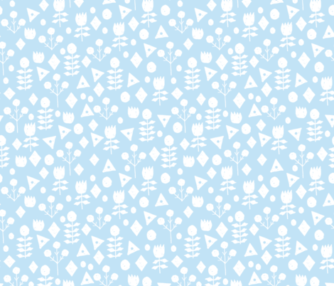 geo floral // powder blue florals fabric simple soft blue fabric fabric by andrea_lauren on Spoonflower - custom fabric