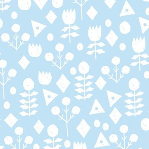 geo floral // powder blue florals fabric simple soft blue fabric