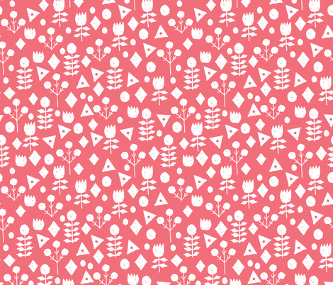 geo floral //salmon floral simple flowers hand-drawn illustration by andrea lauren fabric by andrea_lauren on Spoonflower - custom fabric