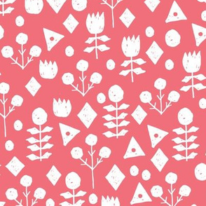 geo floral //salmon floral simple flowers hand-drawn illustration by andrea lauren