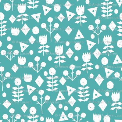 geo floral // tiffany blue fabric geometric florals blue