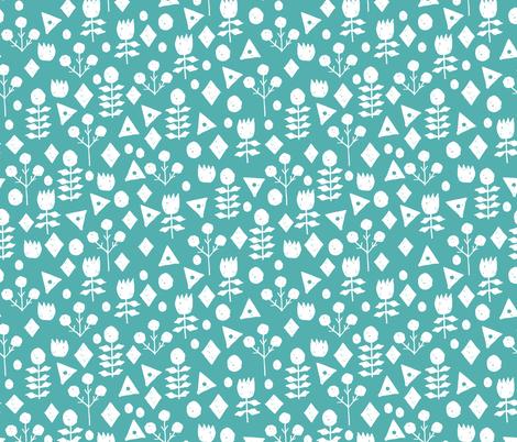 geo floral // tiffany blue fabric geometric florals blue fabric by andrea_lauren on Spoonflower - custom fabric