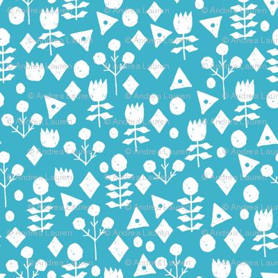 geo floral // turquoise flowers floral fabric simple floral andrea lauren design