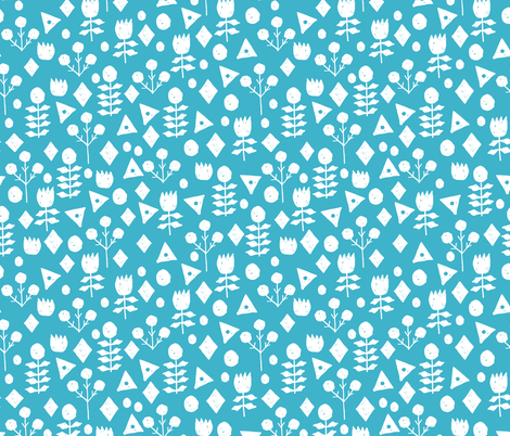 geo floral // turquoise flowers floral fabric simple floral andrea lauren design fabric by andrea_lauren on Spoonflower - custom fabric