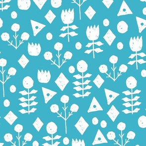 geo floral // turquoise flowers floral fabric simple floral andrea lauren design