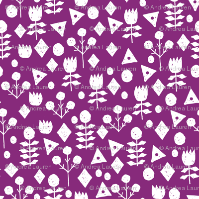 geo floral // wild purple fabric geometric flowers floral fabric simple floral