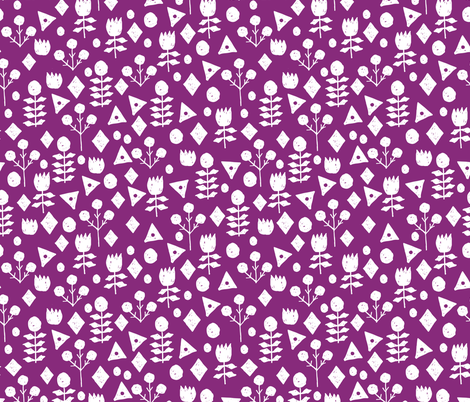 geo floral // wild purple fabric geometric flowers floral fabric simple floral  fabric by andrea_lauren on Spoonflower - custom fabric