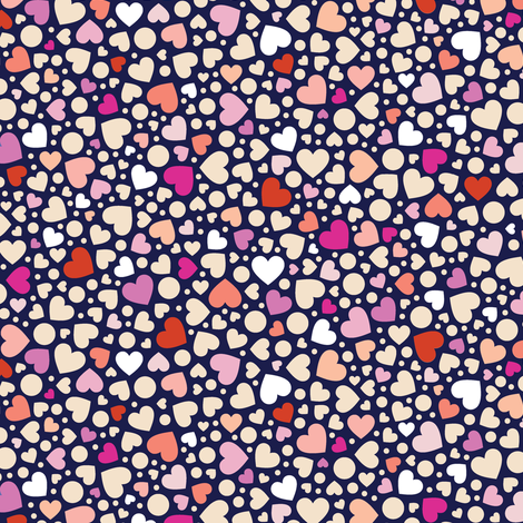 Ditsy Hearts* (Reds on Jackie Blue) || valentine love Valentines Day candy fabric by pennycandy on Spoonflower - custom fabric