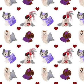 Yorkie Leopard Hearts - Large Print