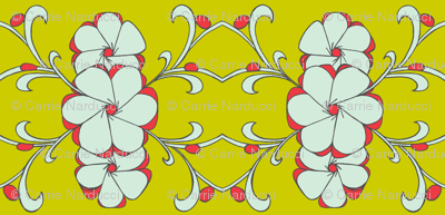 Stacked floral in mint, poppy and yellow green