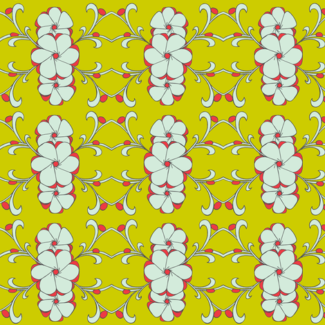 Stacked floral in mint, poppy and yellow green fabric by carrie_narducci on Spoonflower - custom fabric