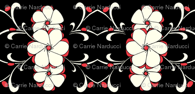 Stacked Floral in red, white, black