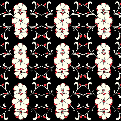 Stacked Floral in red, white, black fabric by carrie_narducci on Spoonflower - custom fabric