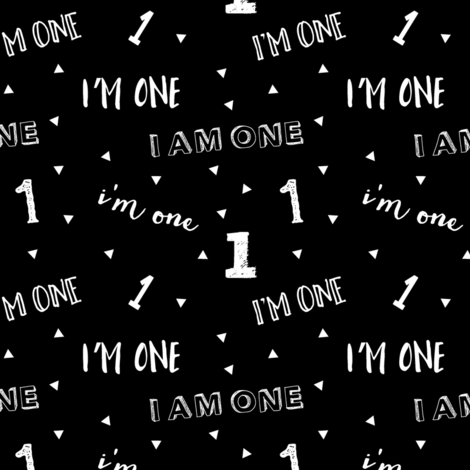 I'm one // first birthday (black) fabric by littlearrowdesign on Spoonflower - custom fabric