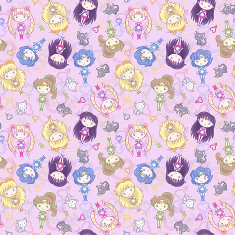 CutiE Moons Teeny fabric by elladorine on Spoonflower - custom fabric