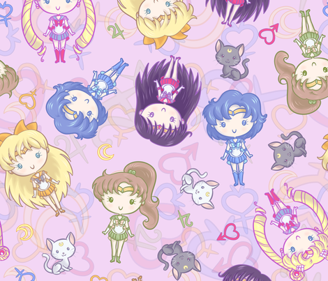 CutiE Moons Jumbo fabric by elladorine on Spoonflower - custom fabric