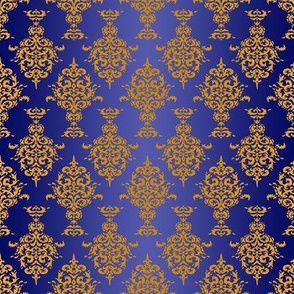 Damask Gold on Royal Blue