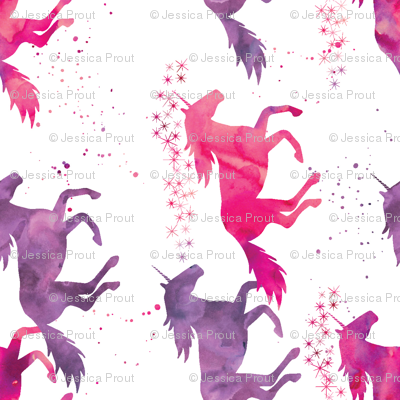 watercolor unicorns (90) || pink & purple multi colored