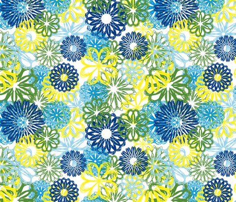 Flowers all over blue/green fabric by asafra on Spoonflower - custom fabric