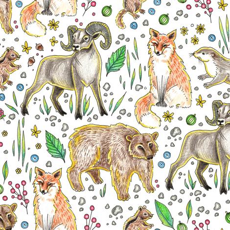 Mountain animals  fabric by marta_strausa on Spoonflower - custom fabric