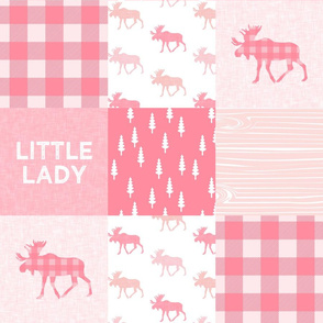 Little Lady Moose Woodland Patchwork Wholecloth  - Pink