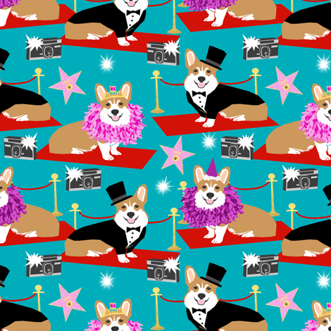 Corgi fashion show hollywood red carpet funny pattern fabric by petfriendly on Spoonflower - custom fabric