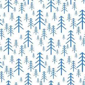Winter Trees Blue on White