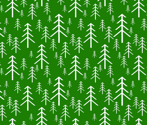 Winter Trees White on Green fabric by themadcraftduckie on Spoonflower - custom fabric