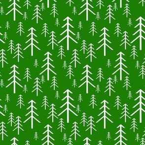 Winter Trees White on Green
