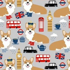 corgis in london - british london england union jack fabric corgi queen fabric